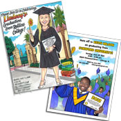 Graduation caricature invitations