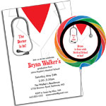 Graduation doctor's coat medical school scrubs theme invitations and party favors