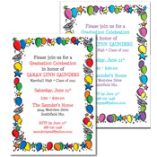 Graduation balloon theme invitations and favors