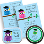 Graduation owl color choice invitations and favors