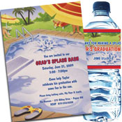 Graduation pool party invitation and favors