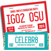 Graduation license plate theme invitations and favors