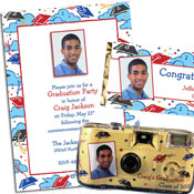 Graduation caps photo invitations and decorations