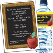 Blackboard theme graduation party invitation