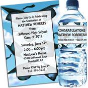 Graduation Cap theme invitations and party favors