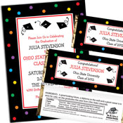 Graduation Dots theme invitations and favors