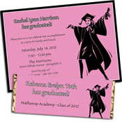 Grad for Her theme invitations and favors