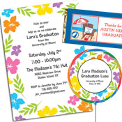 Graduation luau invitations and decorations