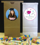 graduation party favor bags with personalized dte, photo, names. Cutom graduation favor
