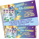 Slot Machine theme casino invitations and favors