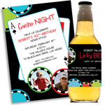 Personalized casino party invitations, decorations and party supplies
