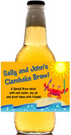 personalized clambake beer bottle label