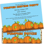 Fall pumpkins theme invitations and favors