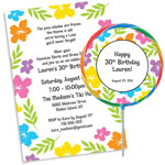 Custom luau hibiscus theme invitations and favors