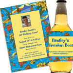 Custom luau photo theme invitations and favors