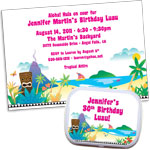personalized tiki luau invitation