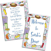 50s diner theme invitations