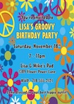 personalized hippie invitation, 60s theme party invitation
