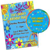 60s groovy theme invitations and favors