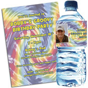 60s tie dye theme invitations and favors