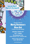 personalized disco theme invitation