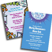 See all 70s theme invitations and favors