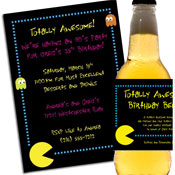 80s Pac Man theme invitations and favors