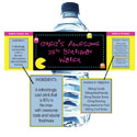 80s theme water labels