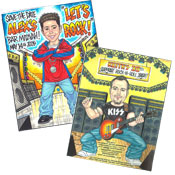 Rock n' roll theme caricature invitations and favors