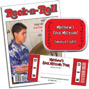 Rock n' Roll theme invitations and favors