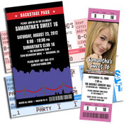 Rock n' roll theme ticket invitations and backstage pass invitations and favors