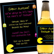 80s theme party invitations, decorations and personalized favors