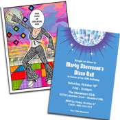 Seventis theme disco invitations and favors