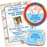 Baseball photo theme invitations and favors