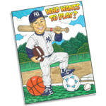 Baseball caricature theme invitations and favors