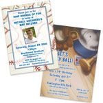 See all baseball theme invitations and favors