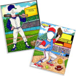 Baseball theme semi custom caricature invitations