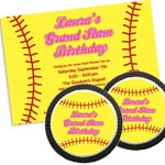 Softball photo theme invitations and favors