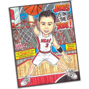 Basketball caricature theme invitations and favors