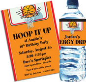 Basketball Hoops theme invitations and favors
