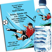 Soccer boy theme invitations and favors