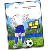 Soccer theme semi custom caricature invitations
