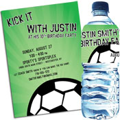 Soccer ball theme invitations and favors