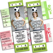 Soccer theme tickets and pass invitations