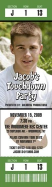 football party photo ticket invitation