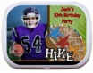 personalized football party candy tin