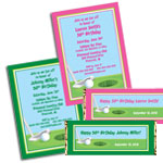 Golf Theme Birthday Party Invitations, Favors and Decorations