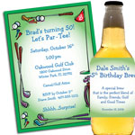 Golf party theme invitations and favors