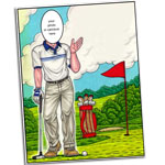 Golf theme semi custom caricature invitations and favors