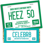License plate theme invitations and favors